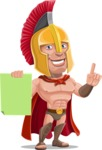 Spartan Warrior Cartoon Vector Character AKA Nikos - Sign 2