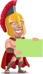 Spartan Warrior Cartoon Vector Character AKA Nikos - Sign 3