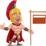 Spartan Warrior Cartoon Vector Character AKA Nikos - Sign 9