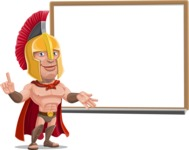 Spartan Warrior Cartoon Vector Character AKA Nikos - Presentation 3