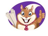 Squirrel with a Tie Cartoon Vector Character AKA Antonio the Businessman - Shape 1