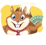 Squirrel with a Tie Cartoon Vector Character AKA Antonio the Businessman - Shape 2