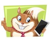 Squirrel with a Tie Cartoon Vector Character AKA Antonio the Businessman - Shape 3