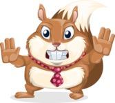 Squirrel with a Tie Cartoon Vector Character AKA Antonio the Businessman - Stop