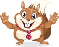 Squirrel with a Tie Cartoon Vector Character AKA Antonio the Businessman - Hello