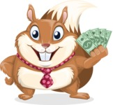 Squirrel with a Tie Cartoon Vector Character AKA Antonio the Businessman - Show me  the Money