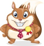 Squirrel with a Tie Cartoon Vector Character AKA Antonio the Businessman - Ribbon
