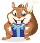 Squirrel with a Tie Cartoon Vector Character AKA Antonio the Businessman - Gift