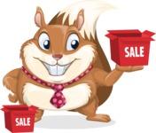 Squirrel with a Tie Cartoon Vector Character AKA Antonio the Businessman - Sale