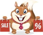 Squirrel with a Tie Cartoon Vector Character AKA Antonio the Businessman - Sale 2
