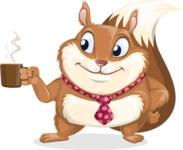 Squirrel with a Tie Cartoon Vector Character AKA Antonio the Businessman - Coffee