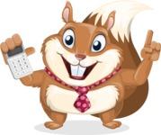 Squirrel with a Tie Cartoon Vector Character AKA Antonio the Businessman - Calculator
