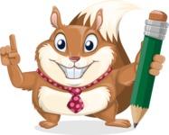 Squirrel with a Tie Cartoon Vector Character AKA Antonio the Businessman - Pencil