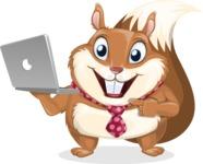 Squirrel with a Tie Cartoon Vector Character AKA Antonio the Businessman - Laptop 1