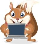 Squirrel with a Tie Cartoon Vector Character AKA Antonio the Businessman - Laptop 2