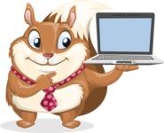 Squirrel with a Tie Cartoon Vector Character AKA Antonio the Businessman - Laptop 3