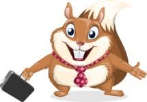 Squirrel with a Tie Cartoon Vector Character AKA Antonio the Businessman - Briefcase 1
