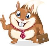 Squirrel with a Tie Cartoon Vector Character AKA Antonio the Businessman - Briefcase 2
