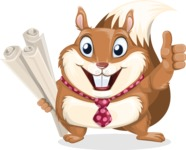 Squirrel with a Tie Cartoon Vector Character AKA Antonio the Businessman - Plans