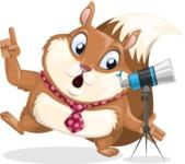 Squirrel with a Tie Cartoon Vector Character AKA Antonio the Businessman - Telescope