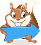 Squirrel with a Tie Cartoon Vector Character AKA Antonio the Businessman - Pointer 2