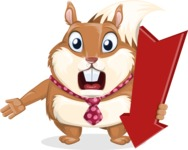 Squirrel with a Tie Cartoon Vector Character AKA Antonio the Businessman - Pointer 3
