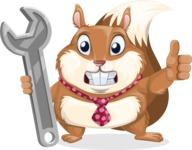 Squirrel with a Tie Cartoon Vector Character AKA Antonio the Businessman - Repair