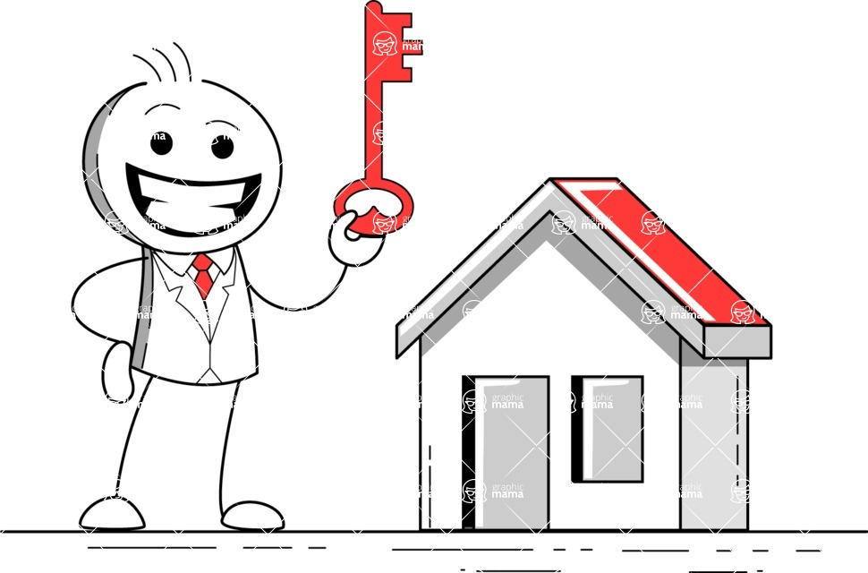 Stickman Vector Graphics - Key to a house