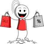 Stickman Vector Graphics - Shopping
