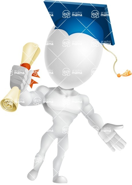 Strong Vector 3D Man with Muscles Cartoon Character AKA Vincent - Graduation