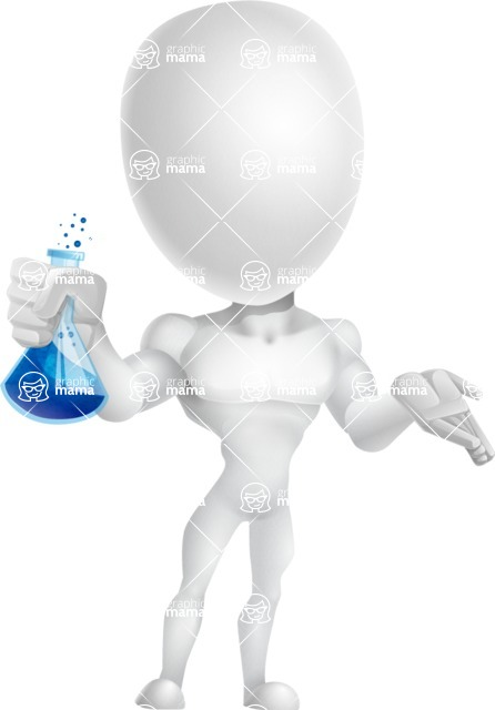 Strong Vector 3D Man with Muscles Cartoon Character AKA Vincent - Flask