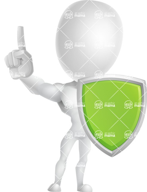 Strong Vector 3D Man with Muscles Cartoon Character AKA Vincent - Shield