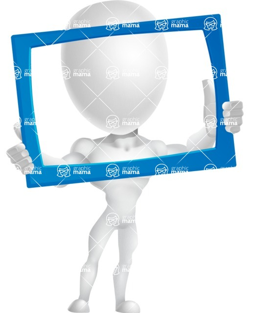 Strong Vector 3D Man with Muscles Cartoon Character AKA Vincent - Frame