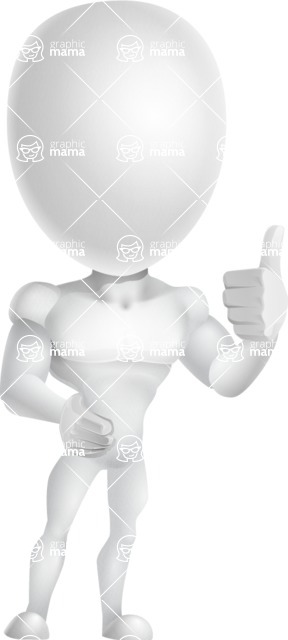 Strong Vector 3D Man with Muscles Cartoon Character AKA Vincent - Thumbs Up
