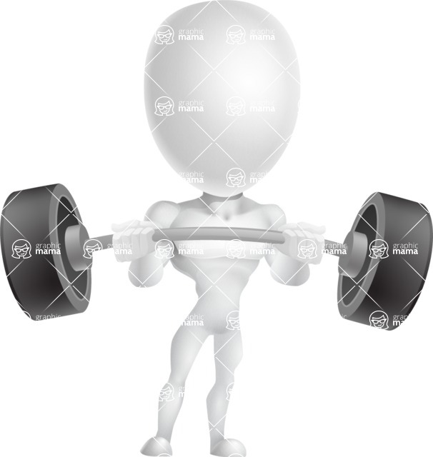Strong Vector 3D Man with Muscles Cartoon Character AKA Vincent - Strong