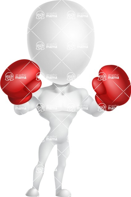 Strong Vector 3D Man with Muscles Cartoon Character AKA Vincent - Boxing