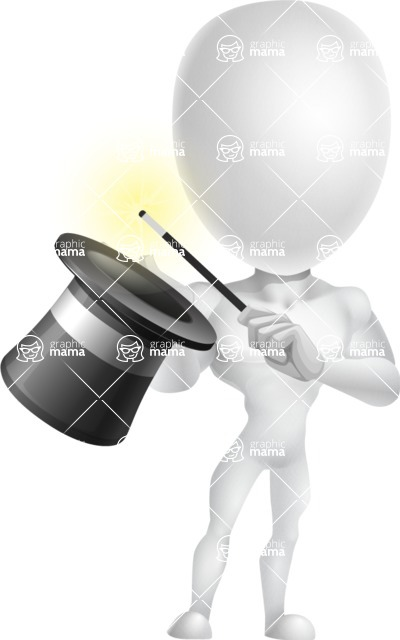 Strong Vector 3D Man with Muscles Cartoon Character AKA Vincent - Abracadabra