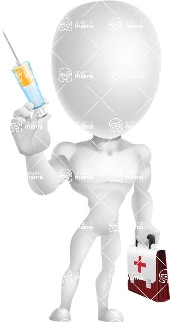 Strong Vector 3D Man with Muscles Cartoon Character AKA Vincent - Doctor