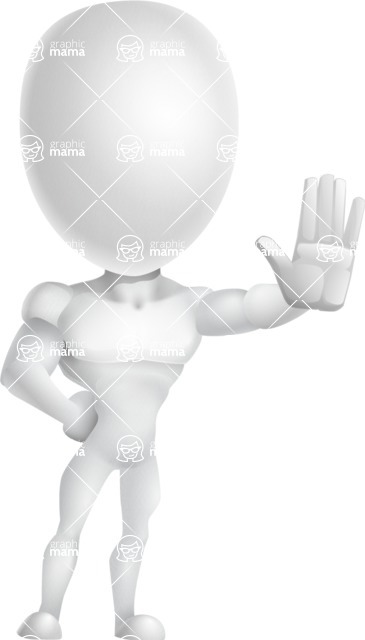 Strong Vector 3D Man with Muscles Cartoon Character AKA Vincent - Wave