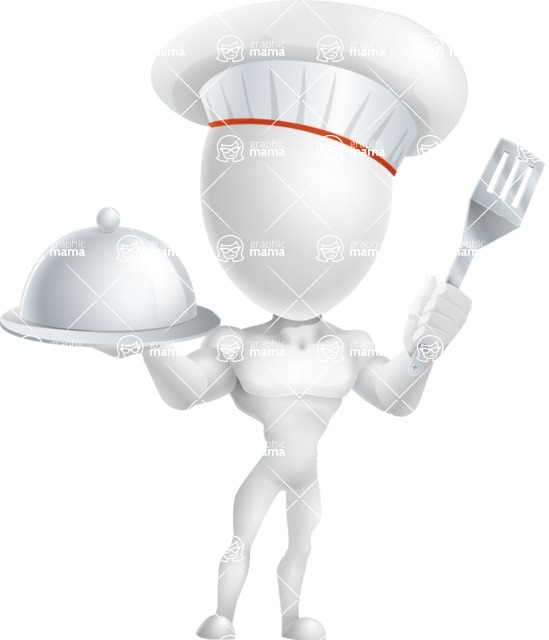 Strong Vector 3D Man with Muscles Cartoon Character AKA Vincent - Chef