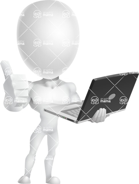 Strong Vector 3D Man with Muscles Cartoon Character AKA Vincent - Laptop 3