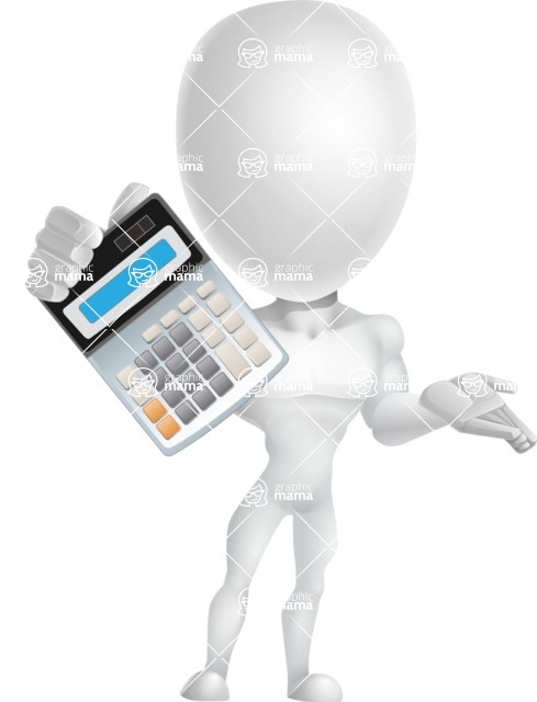Strong Vector 3D Man with Muscles Cartoon Character AKA Vincent - Calculator