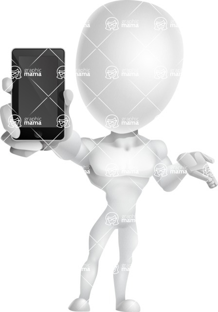 Strong Vector 3D Man with Muscles Cartoon Character AKA Vincent - iPhone