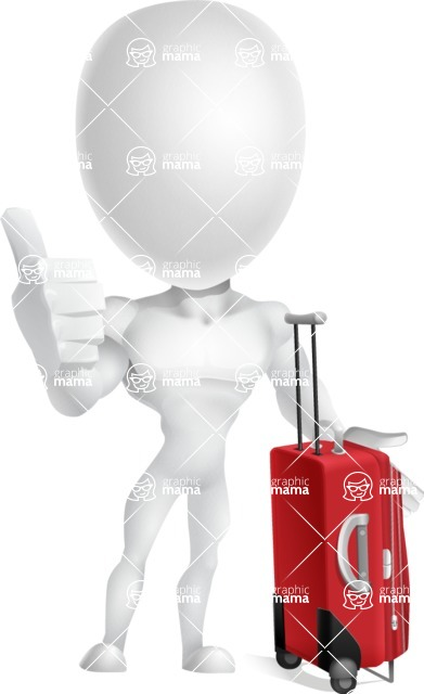 Strong Vector 3D Man with Muscles Cartoon Character AKA Vincent - Travel