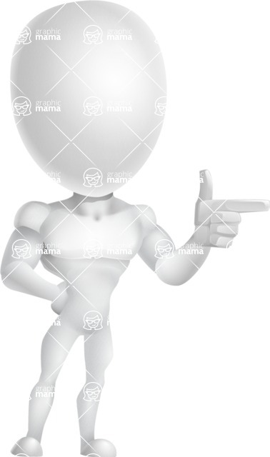 Strong Vector 3D Man with Muscles Cartoon Character AKA Vincent - Point
