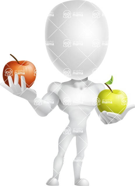 Strong Vector 3D Man with Muscles Cartoon Character AKA Vincent - Apples