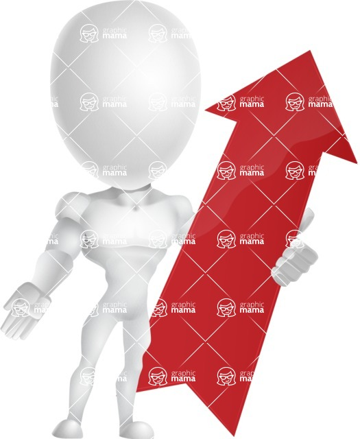 Strong Vector 3D Man with Muscles Cartoon Character AKA Vincent - Arrow 1