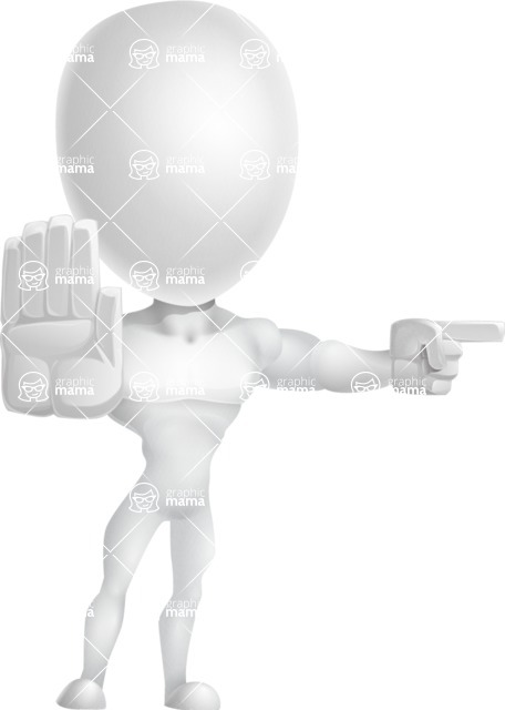 Strong Vector 3D Man with Muscles Cartoon Character AKA Vincent - Direct Attention