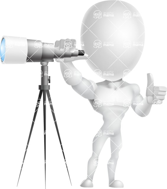 Strong Vector 3D Man with Muscles Cartoon Character AKA Vincent - Telescope