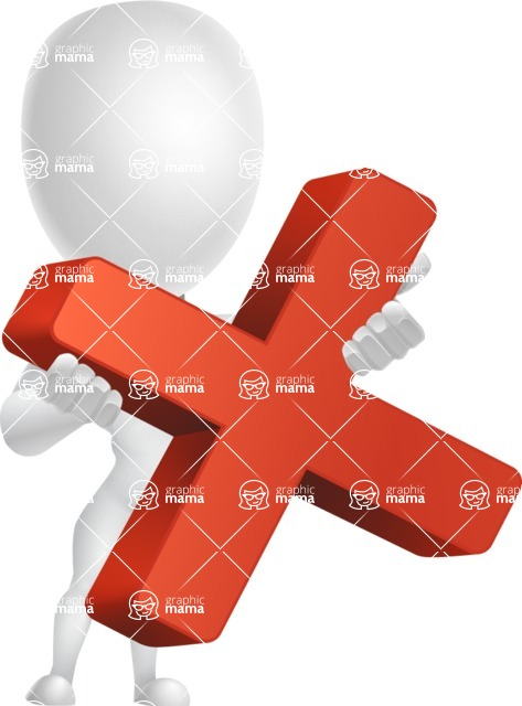 Strong Vector 3D Man with Muscles Cartoon Character AKA Vincent - Delete